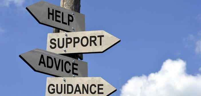 signpost that says help, support, guidance, service