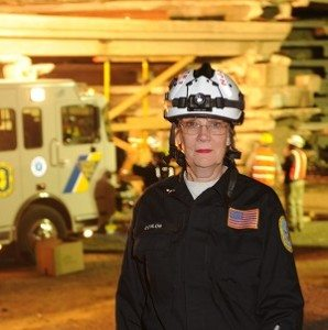 Kathe Conlon, RN, participates in a disaster drill with New Jersey Task Force One Urban Search & Rescue.