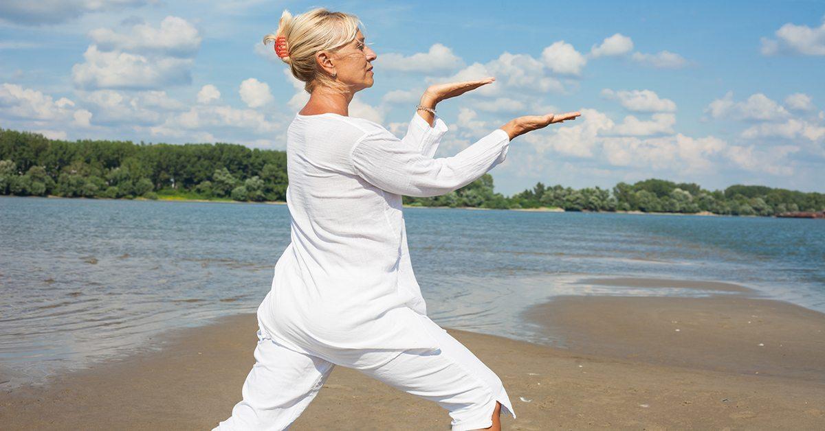 Adult woman practicing tai chi