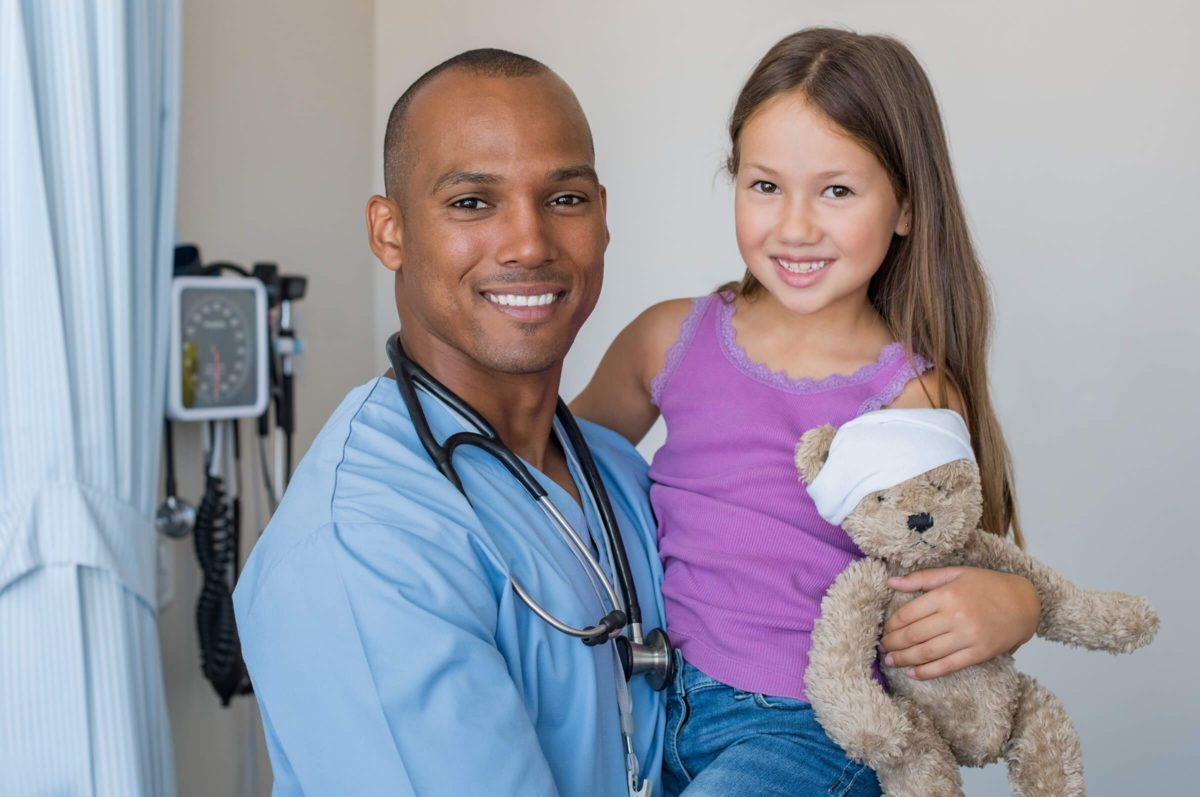 male nurse and little girl