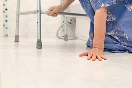 Elderly woman with walker fell down