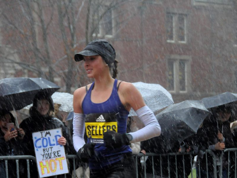 Sarah Sellers, RN, at 2018 Boston Marathon. Photo by MarathonFoto.com