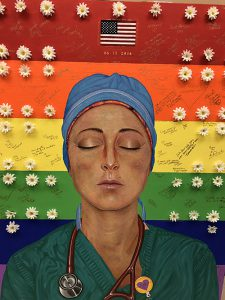 This painting of 2018 Boston Marathon's 2nd place (among women) finisher Sarah Sellers, RN, CRNA, was created by artist Joe Velasco. The painting was done to commemorate the June 12, 2016, Pulse nightclub shooting's victims. Sellers did her clinicals at an Orlando, Fla., hospital that cared for victims of the shooting.