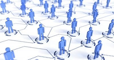 networking - 3d people symbols and connections