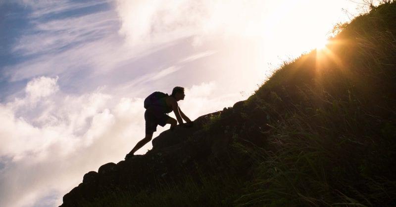 board of nursing - Young man climbing up a mountain.