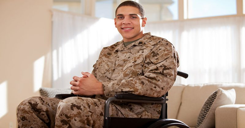 veteran patients - Disabled Veteran US Marine Soldier in Wheelchair. The model is wearing an official US Marine Corps Marpat digital BDU uniform