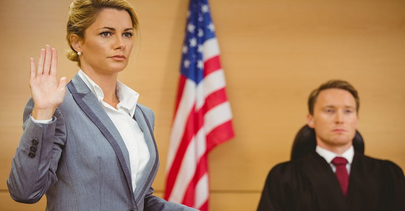 professional negligence - female witness getting ready to testify in court