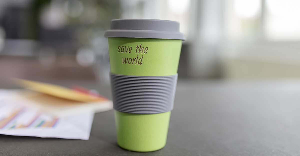 """Free items for nurses during COVID-19 - coffee cup that says """"save the world"""""""